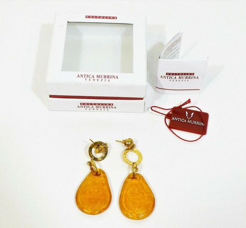 Voltolina Antica Murrina Venezia Goldtone Orange Glass Drop Earrings