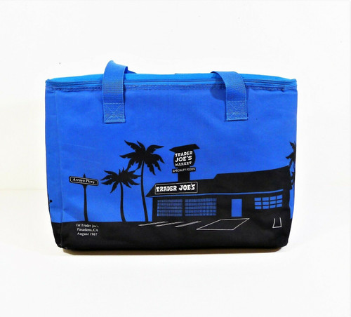 Trader Joe's Blue Large Insulated Tote Shopping Bag Eco-Friendly Reusable