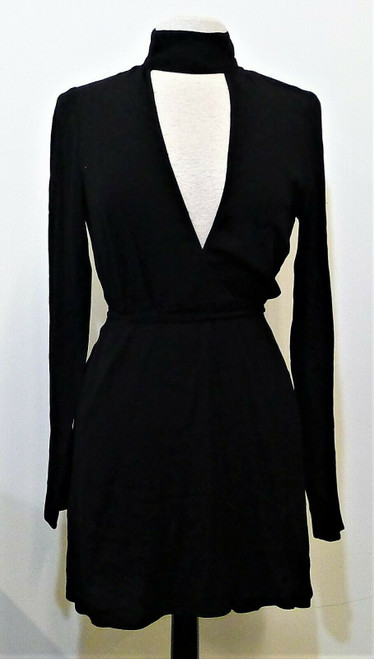 Reformation Women's Black Wrap Around Campbell Dress Size Medium - NEW WITH TAGS