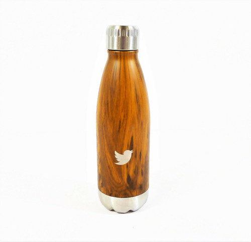 16oz Woodgrain Print and Bird Emblem Metal Water Bottle with Lid