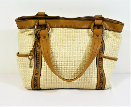Fossil White and Tan Fabric Purse with Brown Leather Trim Shoulder Bag