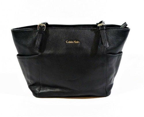 Calvin Klein Black Pebbled Leather Shoulder Bag Purse