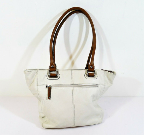 Tignanello White Pebbled Leather Purse Handbag Shoulder Bag - **SEE DESCRIPTION