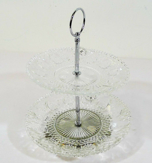 Gibson Jewelite 3 Piece Two Tiered Glass Serving Plate Item Number 100402.03