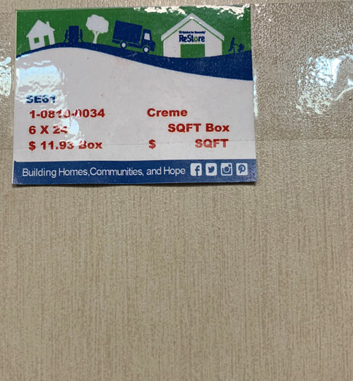 SE61 6 X 24 Cream Porcelain Tile (1.12 sq. ft.)(Local Pickup Only)