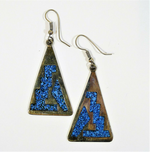 Triangle Silvertone Earrings with Blue Inlay Made in Mexico