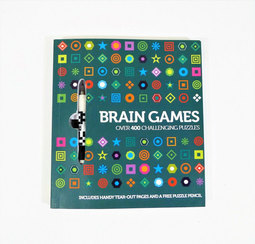 Brain Games Over 400 Challenging Puzzles Paperback Book with Pencil **NO WRITING