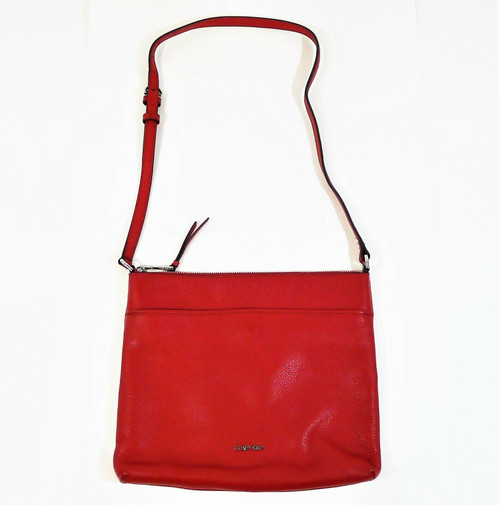 Calvin Klein Red Pebbled Leather Crossbody Bag Purse