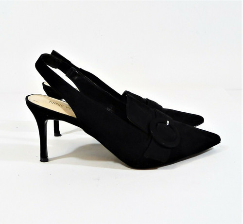 Nine West Women's Black Suede Textile Pointed Toe Slingback Heel Size 7.5 M