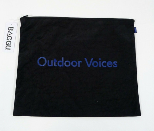 "Baggu Outdoor Voices Black Vinyl Flat Zip Bag 12"" T x 14.5"" W - NEW WITH TAGS"