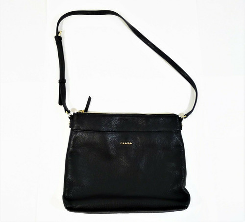 Calvin Klein Black Pebbled Leather Crossbody Bag Purse
