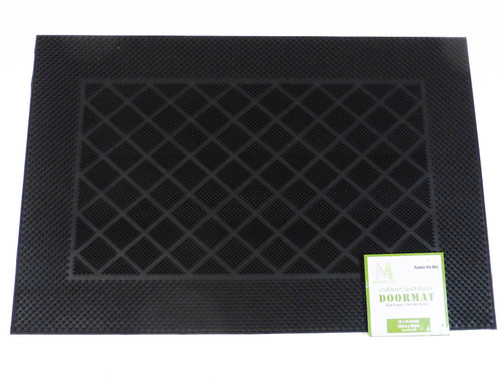 "Master Mat 16"" x 24"" Indoor/Outdoor Rubber Pin Doormat - Black NEW"