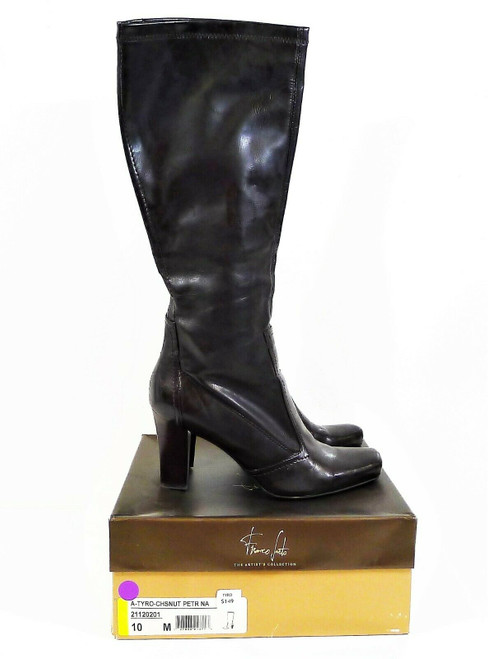 Franco Sarto Women's Chestnut Brown Pull On Knee High Heel Boots Size 10M