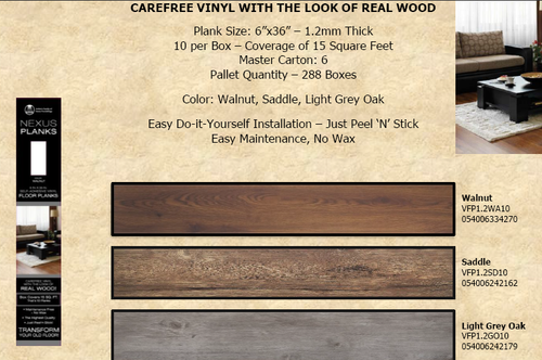 PEEL & STICK VINYL WITH LOOK OF REAL WOOD (Local Pickup Item)