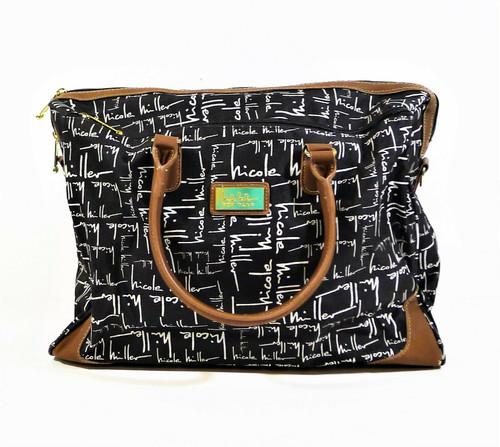 Nicole Miller Black Signature with Brown Trim Carry On Weekender Travel Bag