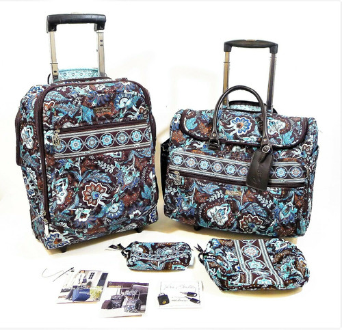 Set of 2 Vera Bradley Retired Java Blue Luggage Carry On Bags w/ 2 Cosmetic Bags