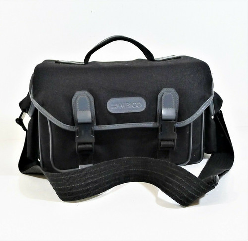 Ambico Black Camera Large Padded Bag Black Buckle Clip with Shoulder Strap