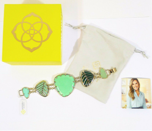 "Kendra Scott 8"" Goldtone Double Chain with Green Stones Bracelet"
