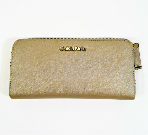 Calvin Klein Women's Light Gold Metallic PVC Continental Zip Around Wallet
