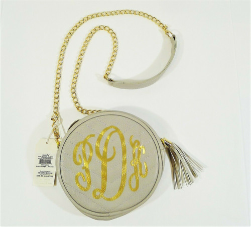 Mud Pie Women's Gray Round Crossbody Purse Chain Strap Gold PDK - NEW WITH TAGS