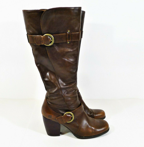 Born Women's Brown Leather Knee High Side Zip Heeled Boots Size 10 M