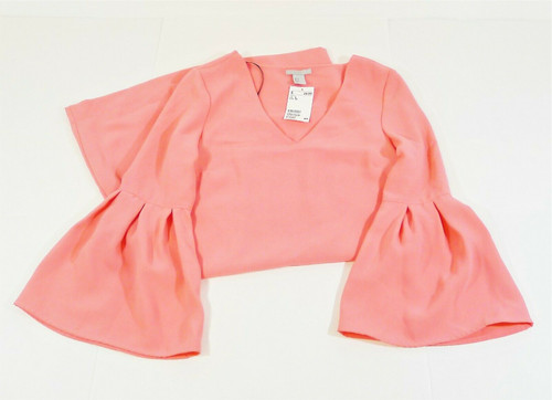 H&M Women's Pink Flared Sleeved Dress Size 4 - NEW WITH DEFECTS (SMALL STAIN)