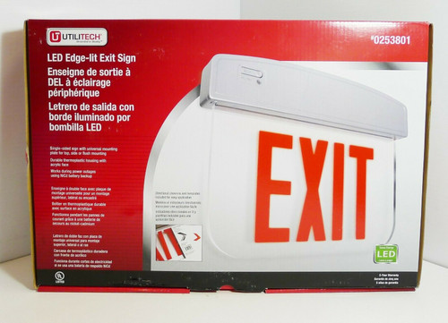 UtiliTech LED Edge-Lit Exit Sign  0253801  NEW OPEN BOX