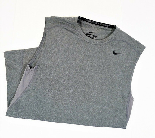 Nike Men's Gray Pro Combat Dri-Fit Compression Sleeveless Tank Top Shirt Size L