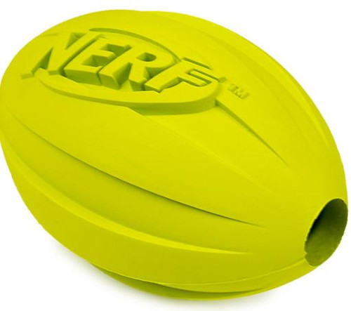 Nerf Dog Medium to Large Treat Feeder Football Green Rubber Dog Toy - NEW