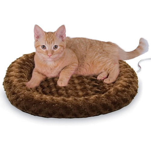 K&H Pet Products Mocha Thermo-Kitty Fashion Splash Small Heated Cat Bed - NEW