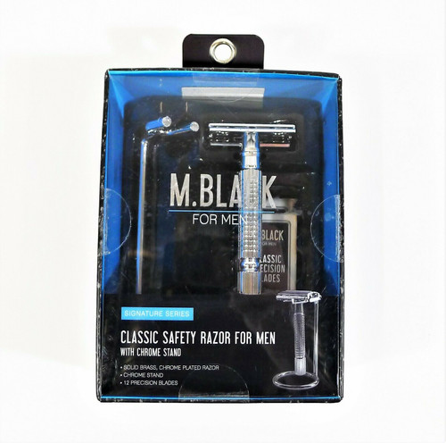 M. Black for Men Classic Safety Razor with Chrome Stand - NEW SEALED