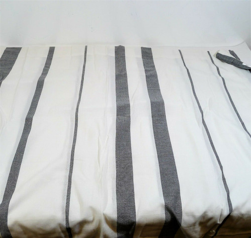 "Set of 2 CB2 White Gray Wide Stripe Curtain Panels 48"" X 84"" - 229-666"