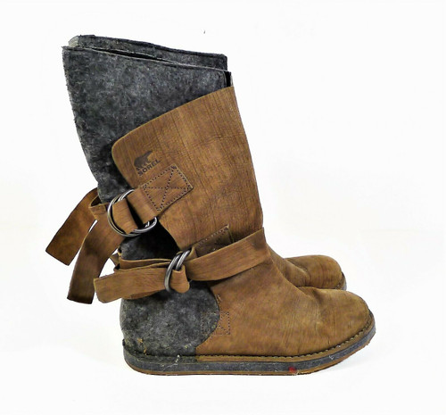 Sorel Women's Gray/Brown Felt Leather Snow Boots Size 10 - NL1880-211