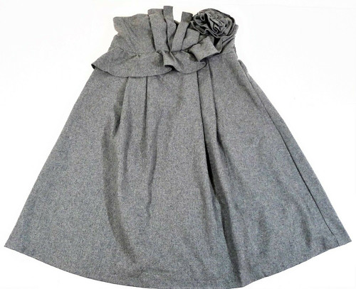 Ryu Women's Gray Wool Flower Accent Strapless Dress Size S - NEW WITH TAGS
