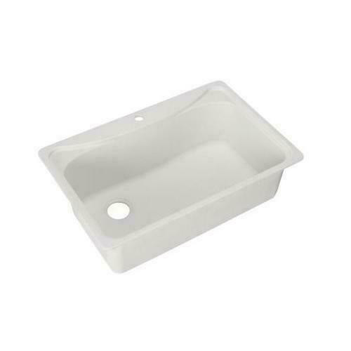 Pegasus Dual Mount Composite 33x22x10 1-Hole Single Bowl Sink in White *NO SHIP