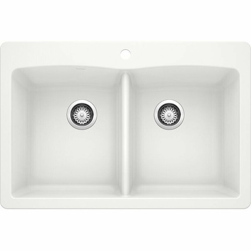 Blanco Tuscany 2.0 Double Bowl 1-Hole Composite Sink in White *Local Pickup Only