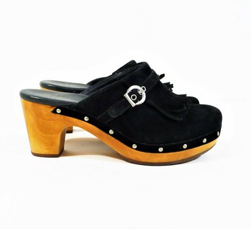 UGG Australia Women's Black Suede Leather Studs Wood Heel Clogs Size 6