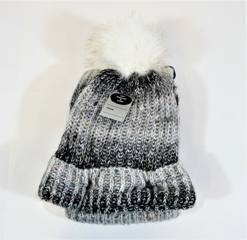 Steve Madden Black/White/Silver Pom Hat and Scarf Set - NEW WITH TAGS