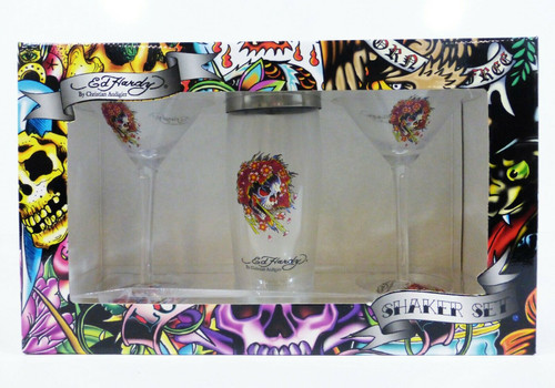 Ed Hardy by Christian Audigier Shaker Set 3pc. (2 Glasses & Shaker)  NEW