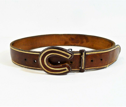 Mexico Men's Brown Leather Belt witH Horseshoe Leather Buckle Size 38- SEE DESCR
