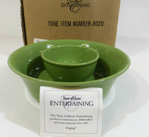 Taste of Home Entertaining Chip and Bowl Dish Set in Green NEW