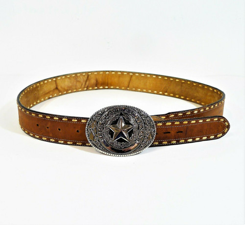 Tony Lama Men's Brown Belt with State of Texas Belt Buckle Size 42 - SEE DESCR