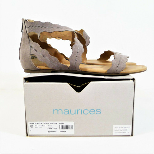 Maurices Women's Gray Scallop Edge Gladiator Sandals Shoes Size 9 - NEW IN BOX