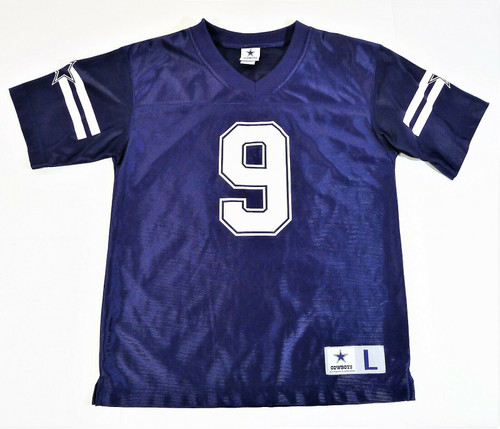 Cowboys Authentic Apparel Youth Blue Dallas Cowboy #9 Romo Jersey Size L