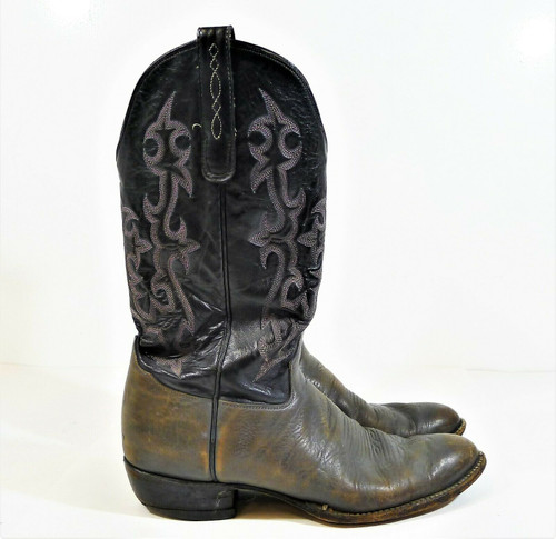 Tony Lama Men's Gray/Black George Strait Leather Boots Size 11 B - SEE DESCR