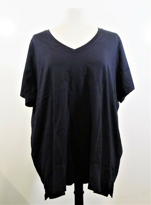 Land's End Women's Black V-Neck Supima Tunic Shirt Size 3X - NEW IN PACKAGE