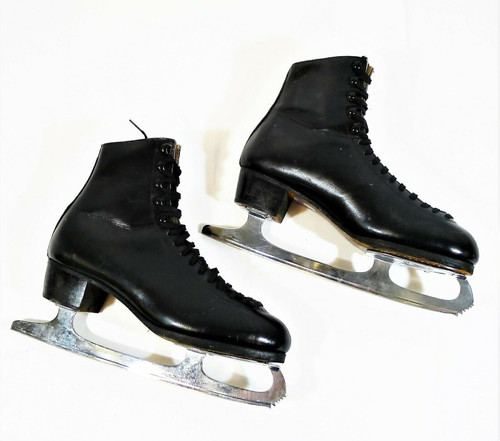 WIFA Men's Black Leather Ice Skates Size 9.5