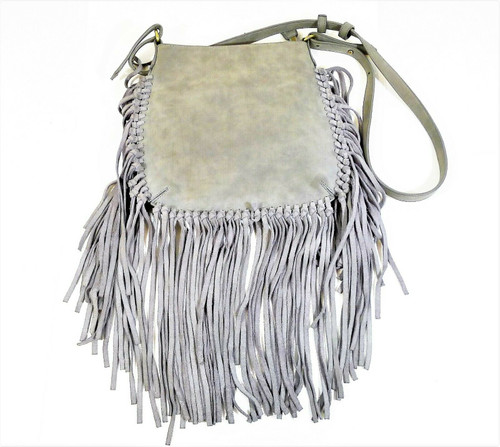 Shiraleah Chicago Women's Gray Fringed Shoulder Bag Purse - SEE DESCRIPTION
