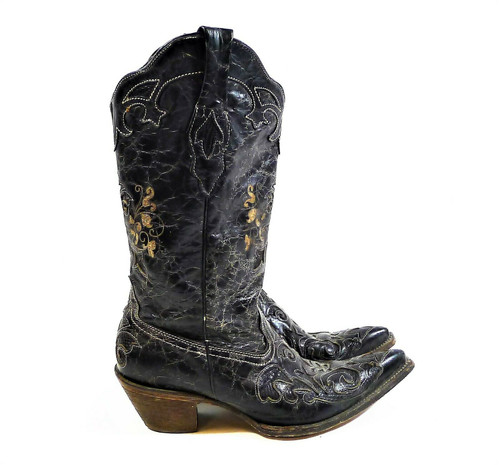 Corral Vintage Women's Black Lizard Inlay Pointed Toe Cowgirl Boots Size 10 M