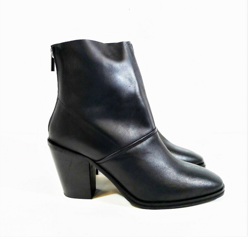 Asos Women's Black Leather Back Zip Heeled Boots Size 9